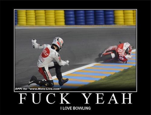 Improper application of torque - aka moto-bowling